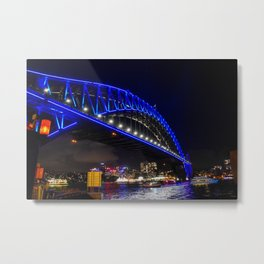 Blue Harbour Bridge Metal Print