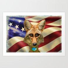 Patriotic Arizona GQ Coyote Art Print