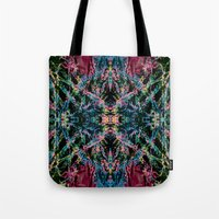 good vibes Tote Bags featuring GOOD VIBES by Lara Gurney