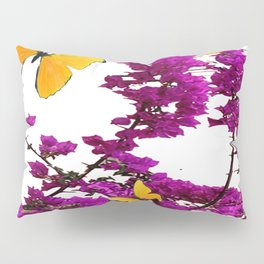 YELLOW BUTTERFLIES & PURPLE BOUGAINVILLEA FLOWERS Pillow Sham