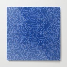 Monstera leaves - in blue-painted style (old Hungarian folk art) Metal Print