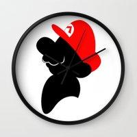 super mario Wall Clocks featuring Super Mario by Bonitismo