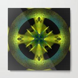 Spinning Wheel Hubcap in Lime Green Metal Print
