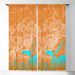 Barry, Wales, Gold, Blue, City, Map Blackout Curtain