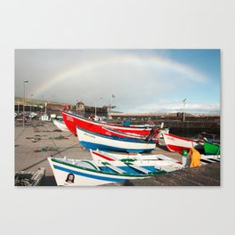 Rainbow at the harbour Canvas Print