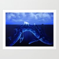 Iceberg Dragon Art Print
