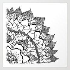 Modern handdrawn floral mandala black white pattern Art Print