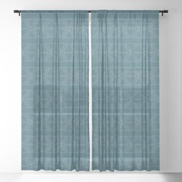 lines geo-teal Sheer Curtain