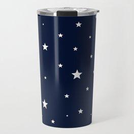 Scattered Stars White on Midnight Blue Travel Mug