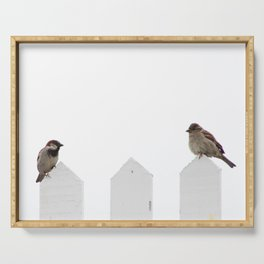 Love Birds on a Fence Serving Tray