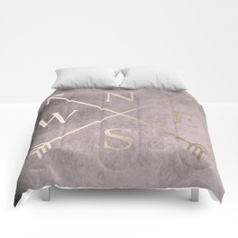 Gold on Pink Blush Distressed Compass Adventure Design Comforters