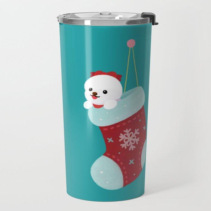 Christmas bichon frise 3 Travel Mug