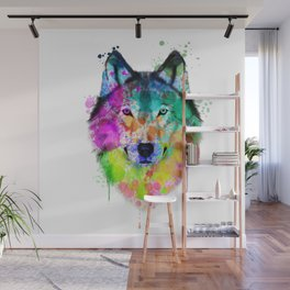 Wolf Watercolor, Wolf Painting, Wolf Portrait, Wolf art, Wolf illustration Wall Mural