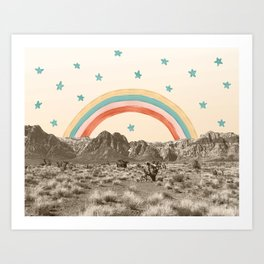 Canyon Desert Rainbow // Sierra Nevada Cactus Mountain Range Whimsical Painted Happy Stars Art Print