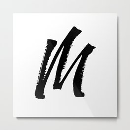 Letter M Ink Monogram Metal Print