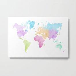 Multicolored watercolor world map Metal Print