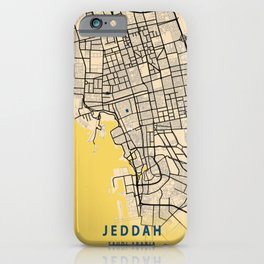 Jeddah Yellow City Map iPhone Case
