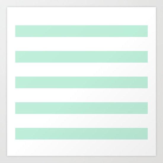Maritime - Mint green and White stripes-horizontal Art Print