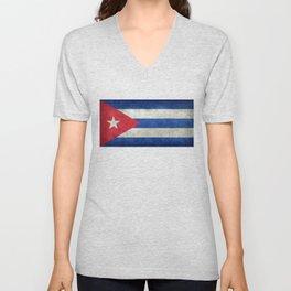 Cuban national flag- vintage retro version Unisex V-Neck