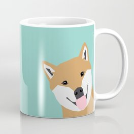 Shiba Inu Peek - cute shiba doge peeking funny dog art print mint turquoise customizable dog gift Coffee Mug