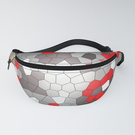 Mosaik grey white red Graphic Fanny Pack