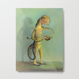 Lizard with Sandwich Metal Print