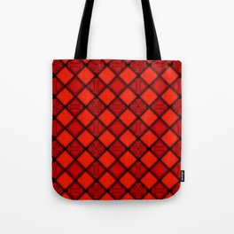 Abstract Diamond Red Black Pattern Tote Bag