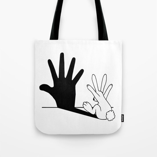 Rabbit Hand Shadow Tote Bag