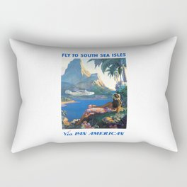 1940 FLY TO THE SOUTH SEA ISLES Via Pan American Airlines Travel Poster Rectangular Pillow
