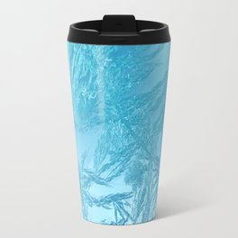 Hoar Frost: Diagonal Feathers Travel Mug