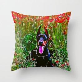doberman dog red flowers meadow vector art Throw Pillow