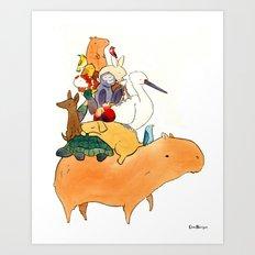 Animals on a Capybara Art Print