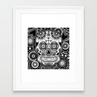 sugar skull Framed Art Prints featuring sugar skull by Ancello