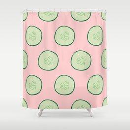 Bright Refreshing Summer Pink Cucumber Pattern Shower Curtain