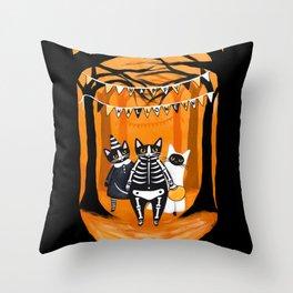 Happy Halloween Cats Throw Pillow