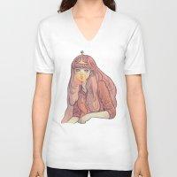 bubblegum V-neck T-shirts featuring Bubblegum by Little Thunder