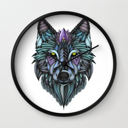 Ornate Wolf (Full Colored) Wall Clock