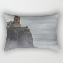 Lighthouse in Thick Fog - Scenic Coastal Landscape Photography Rectangular Pillow