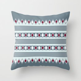 Green stripes and diamonds geometric pattern Throw Pillow
