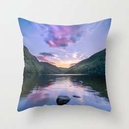Wicklow Glendalough sunset over lake Throw Pillow