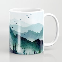 Watercolor Mountains - Handpainted Landscape Art Pine Trees Forest Wanderlust Coffee Mug