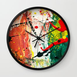 Red White and Green Italian Flag Abstract Painting Wall Clock