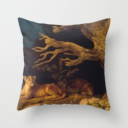 Lion and lioness - George Stubbs - 1771 Throw Pillow