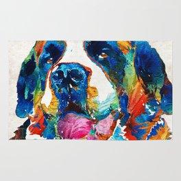 Colorful Saint Bernard Dog by Sharon Cummings Rug