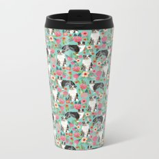 Australian Shepherd owners dog breed cute herding dogs aussie dogs animal pet portrait dog art Metal Travel Mug