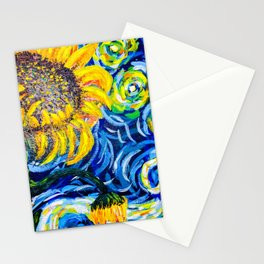 Gorgeous Blue and Yellow Van Gogh Sunflowers Stationery Cards