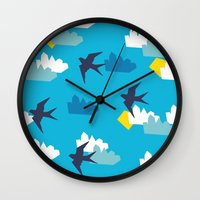 swallow Wall Clocks featuring Swallow by Maedchenwahn