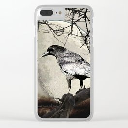 Rustic Black Bird Raven Crow Tree Moon A142 Clear iPhone Case