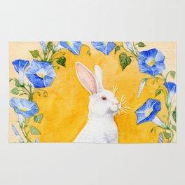 White Rabbit in Blue Flowers Rug