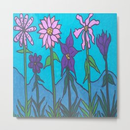 Blue Mountain Flowers Metal Print